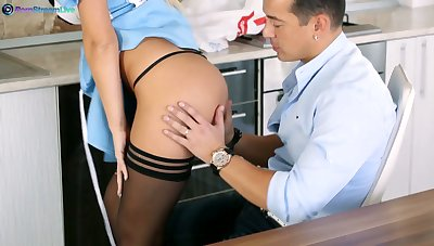 Sexy wife in maid uniform Ginger Devil gives a blowjob and gets her slit rammed