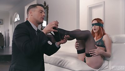 Dude with weird fetish fucks lovely white-hot head in black pantyhose Lacy Lennon