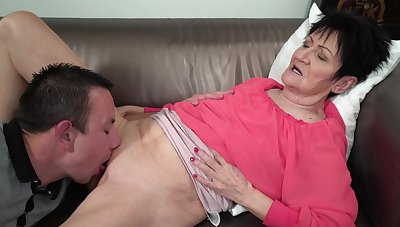 Granny feels young nephew's dick stimulating her everywhere pleasant modes