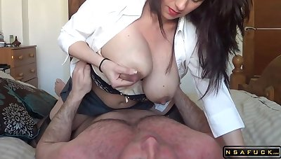 Lactating milf riding her hubby with homemade real clumsy sexvideo