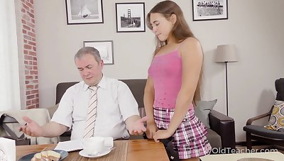 Cute pupil Mara Gri gets their way pussy fucked by kinky ancient teacher