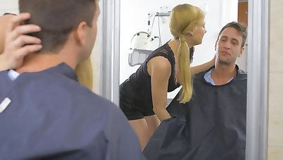 Blonde secretary Lucy Heart gets butt fucked in the office