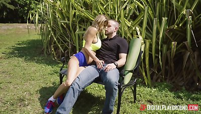 Balls deep outdoor fucking on the bench with wild Alexis Faws