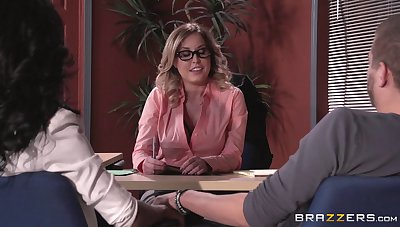 Lingerie wearing boss lady Payton West fucked on the date table