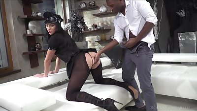 Classy bungle in ripped pantyhose and police uniform Carolina Vogue is fucked by two clients