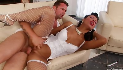 Beautiful Kyra Black sheds white lingerie during arresting bang
