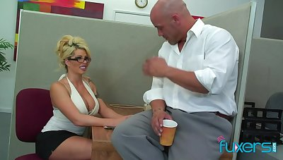 Treat looking busty blonde transcriber is ready for sensual fuck in an obstacle office