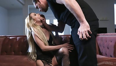 GF in patched fishnet pantyhose Aiden Ashley gets fucked hard
