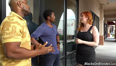 Curvaceous waxen milf Lauren Phillips is fucked by two hot blooded black guys
